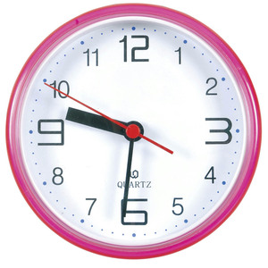 Waterproof Bathroom Clock with Suction (Pink)