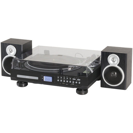 Proper Transcription-Type Turntable with Amplifier and AM/FM Tuner