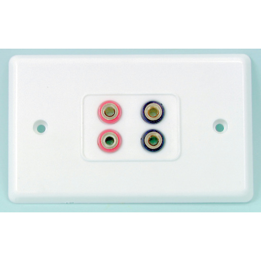 BANANA Sockets ON LARGE WALLPLATE - 4 way