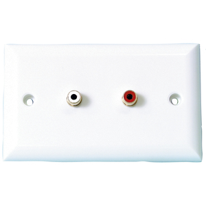 2 X RCA Sockets ON LARGE WALL PLATE
